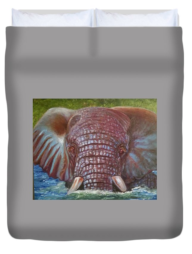Elephant Duvet Cover featuring the painting The Colour Of Life by Jake Knee