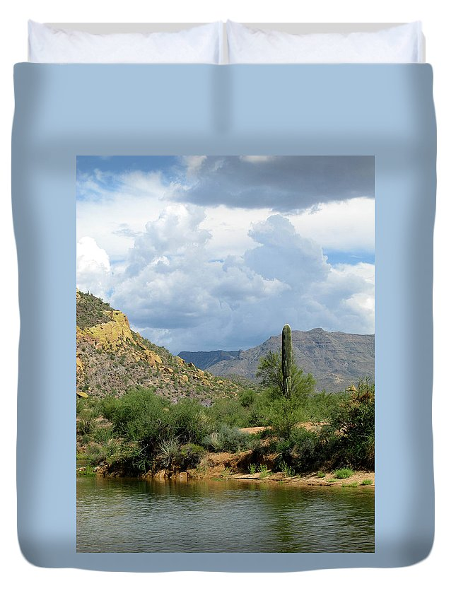 Saguaro Duvet Cover featuring the photograph The Coming Storm by Cathy Franklin