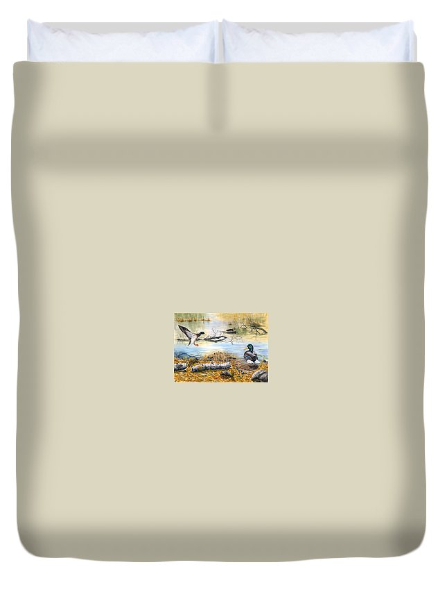 Mallerds Duvet Cover featuring the painting The Competition by Mary Tuomi