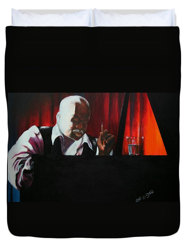 Jazz Musician Duvet Cover featuring the painting The Composer by Arthur Covington