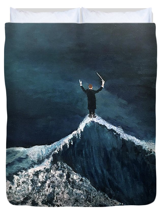 Surrealism Duvet Cover featuring the painting The Conductor by Thomas Blood