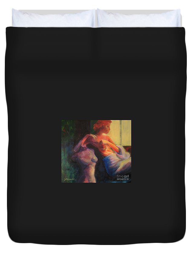 Bright Duvet Cover featuring the painting The Confidante by Jason Reinhardt