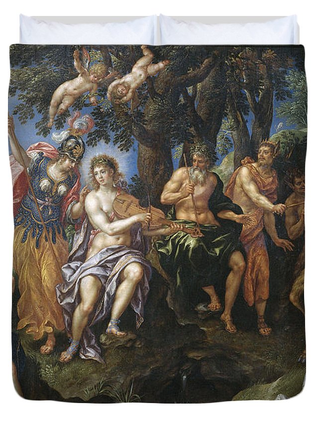 Angel Duvet Cover featuring the painting The Contest Between Apollo And Pan, 1600 by Hendrik De Clerck