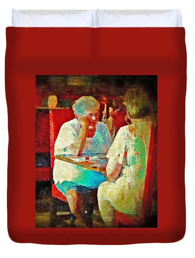 Women Duvet Cover featuring the digital art The Conversation by Patricia Mariano
