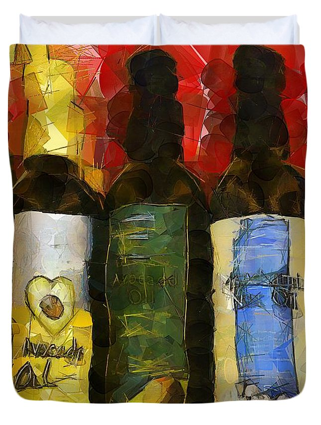 Bottles Duvet Cover featuring the painting The Cook's Elixirs by RC DeWinter