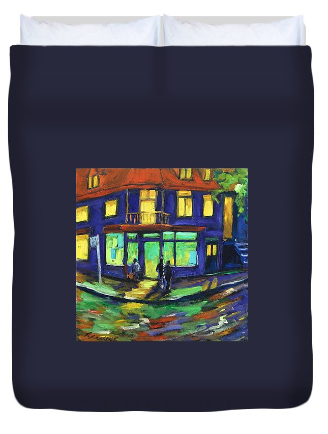 Town Duvet Cover featuring the painting The Corner Store by Richard T Pranke