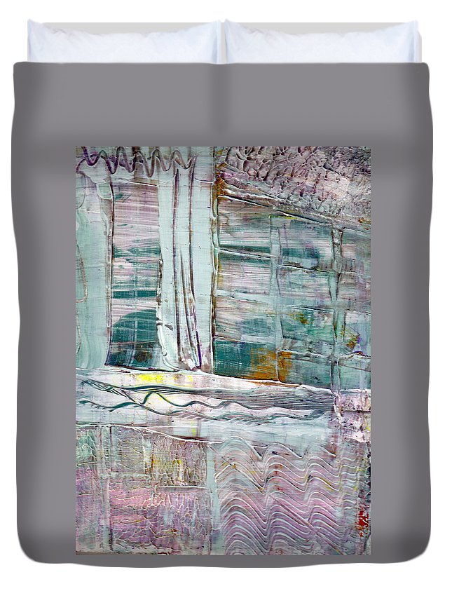 Abstract Duvet Cover featuring the painting The Corner Window by Wayne Potrafka