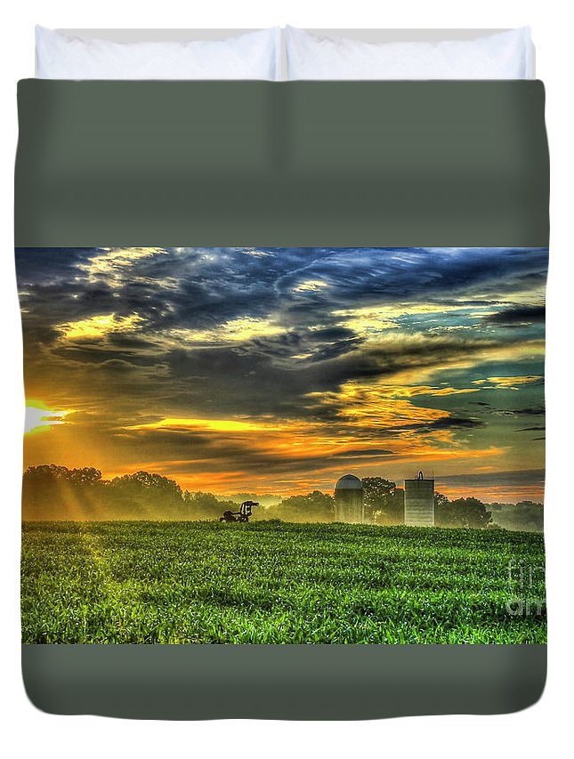 Reid Callaway The Cornfield Dawn Duvet Cover featuring the photograph The Cornfield Dawn The Iron Horse Collection Art by Reid Callaway