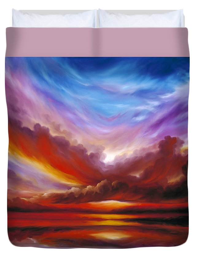 Skyscape Duvet Cover featuring the painting The Cosmic Storm II by James Christopher Hill