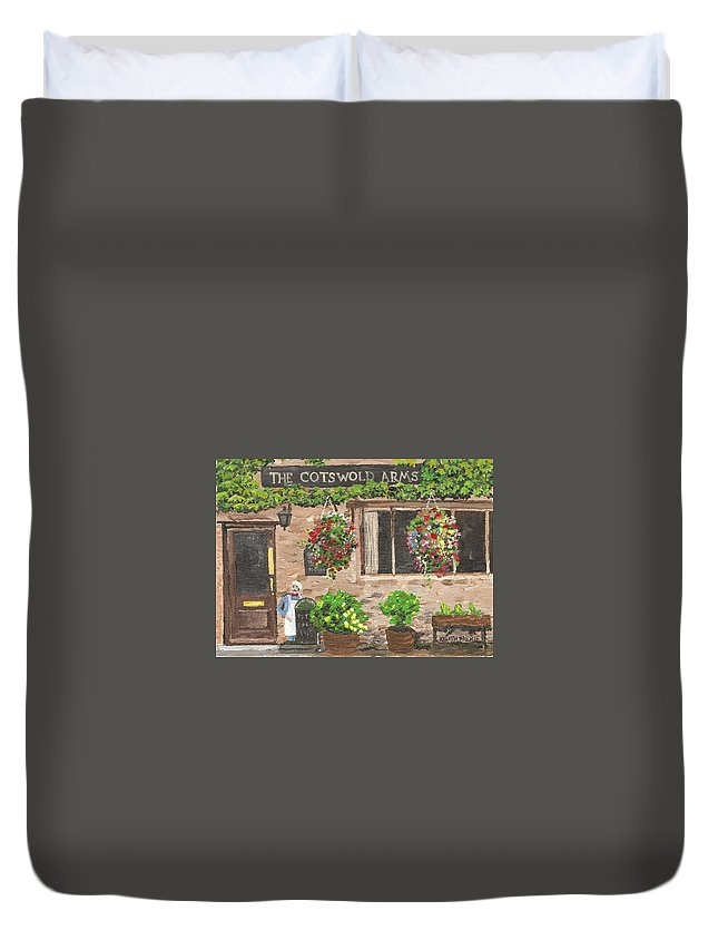 Cafe Duvet Cover featuring the painting The Cotswold Arms by Keith Wilkie