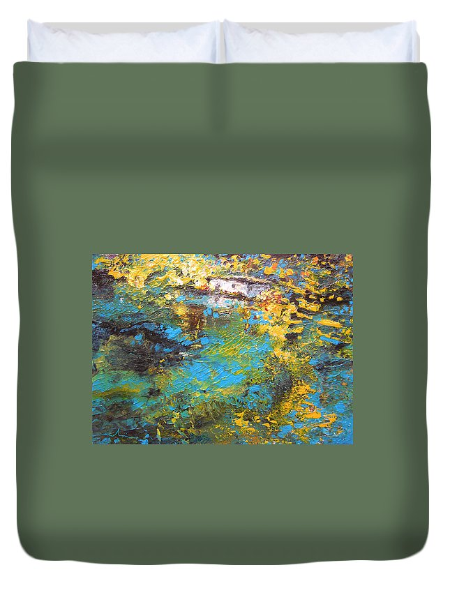 Water Duvet Cover featuring the painting The Cottage By The Lagoon by Miki De Goodaboom