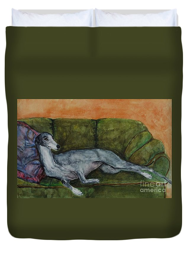 Greyhounds Duvet Cover featuring the painting The Couch Potatoe by Frances Marino