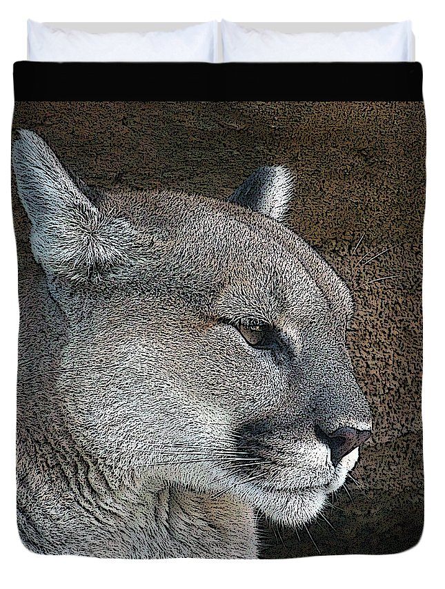 Mountain Lion Duvet Cover featuring the photograph The Cougar by Ernie Echols