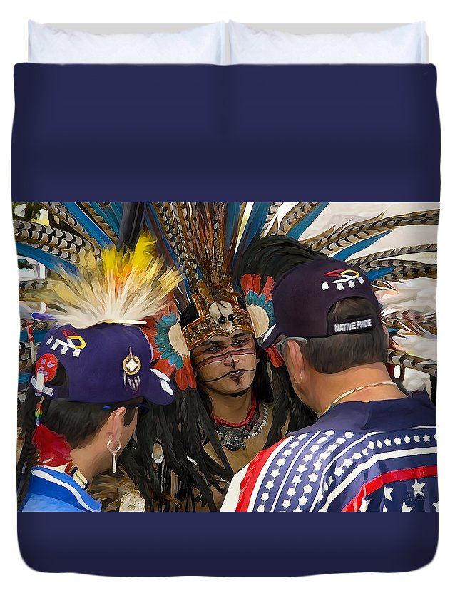 Native Pride Duvet Cover featuring the digital art The Council by Joe Paradis