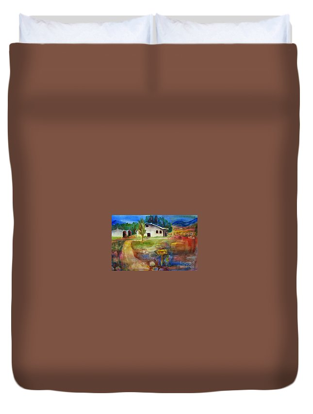 Country Barn Duvet Cover featuring the painting The Country Barn by Frances Marino