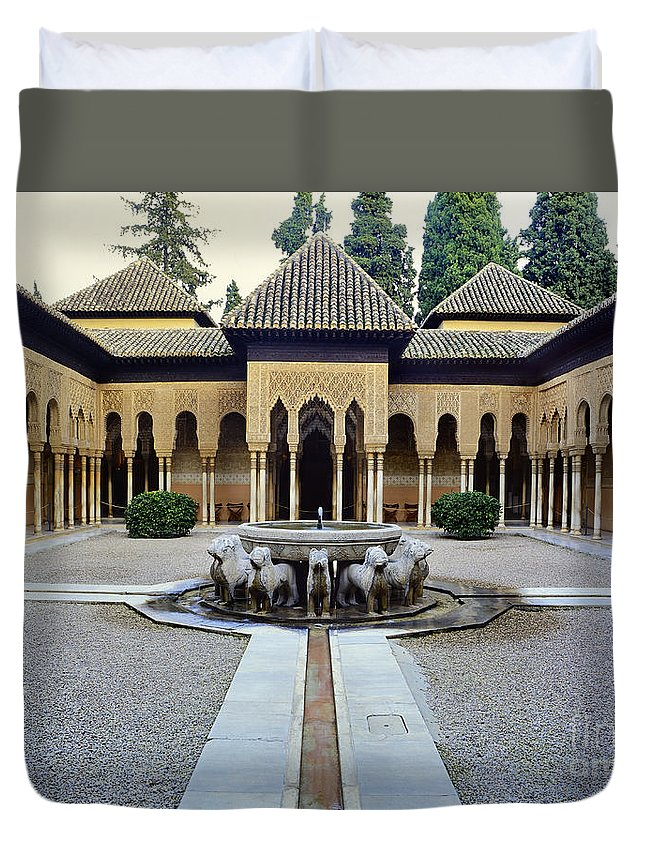 Alhambra Duvet Cover featuring the photograph The Court Of The Lions Alhambra Spain by Guido Montanes Castillo