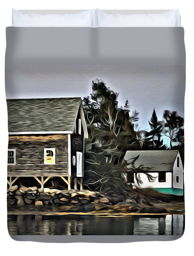 Cottage Duvet Cover featuring the photograph The Cove At Dusk by Modern Art