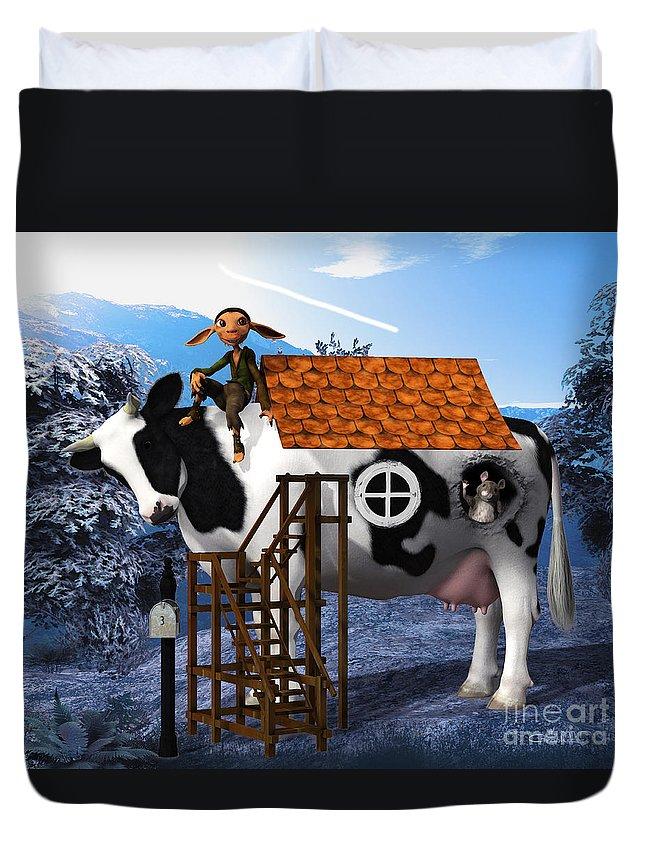 3d Duvet Cover featuring the digital art The Cow House by Jutta Maria Pusl