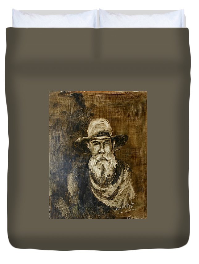 Cowboy Duvet Cover featuring the painting The Cowboy by Keith Nolan