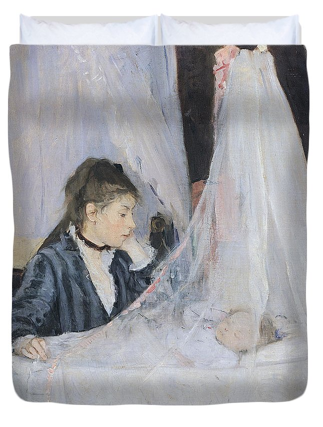 Mother Duvet Cover featuring the painting The Cradle by Berthe Morisot