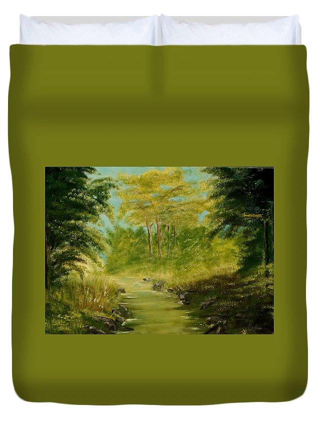 Water River Creek Nature Trees Landscape Duvet Cover featuring the painting The Creek by Veronica Jackson