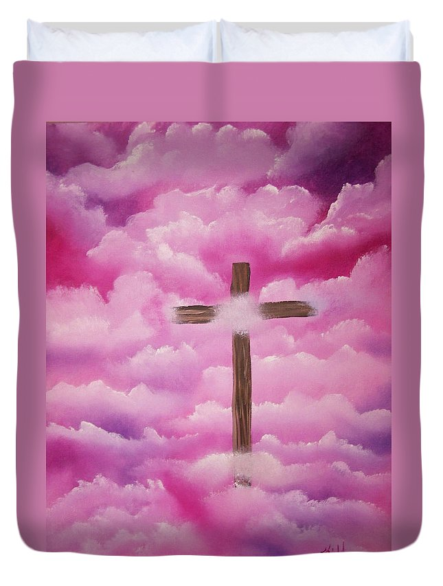 Cross Artwork Duvet Cover featuring the painting The Cross Of Redemption by Laurie Kidd