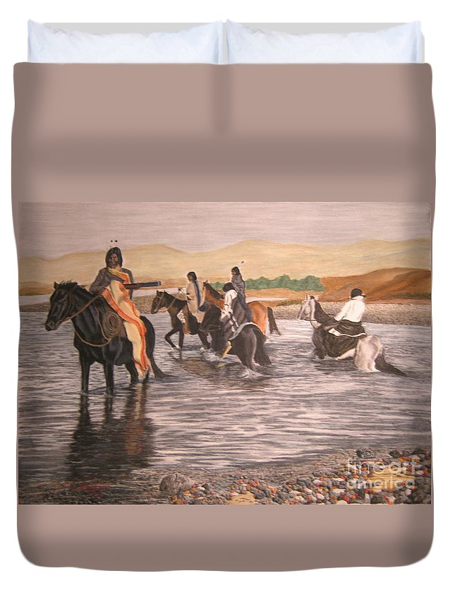 Native American Duvet Cover featuring the pastel The Crossing by John Huntsman