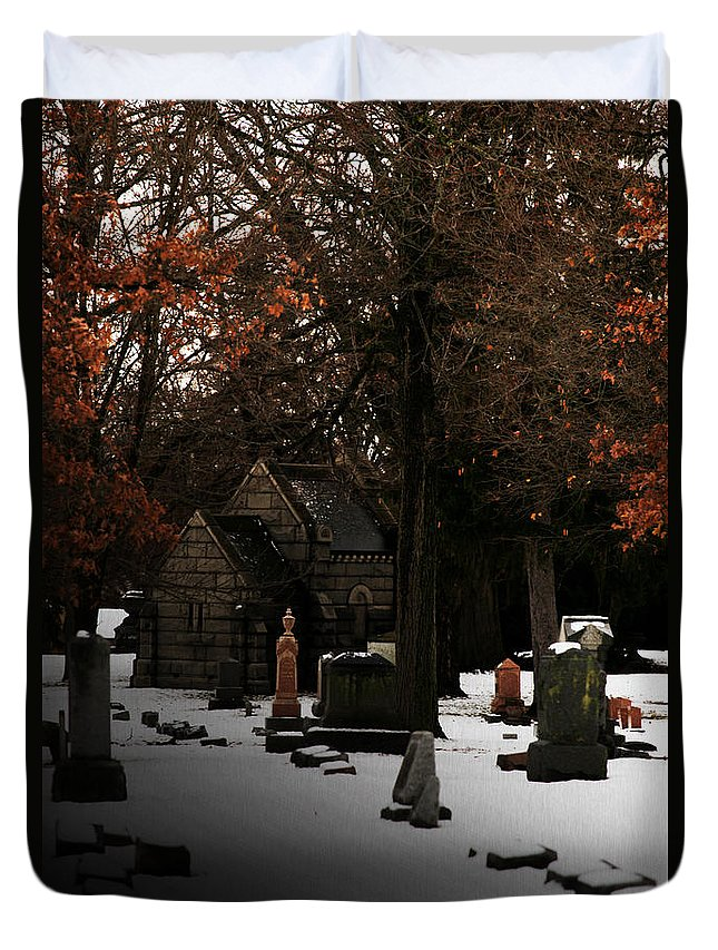 Cemetery Duvet Cover featuring the photograph The Crossing by Linda Shafer
