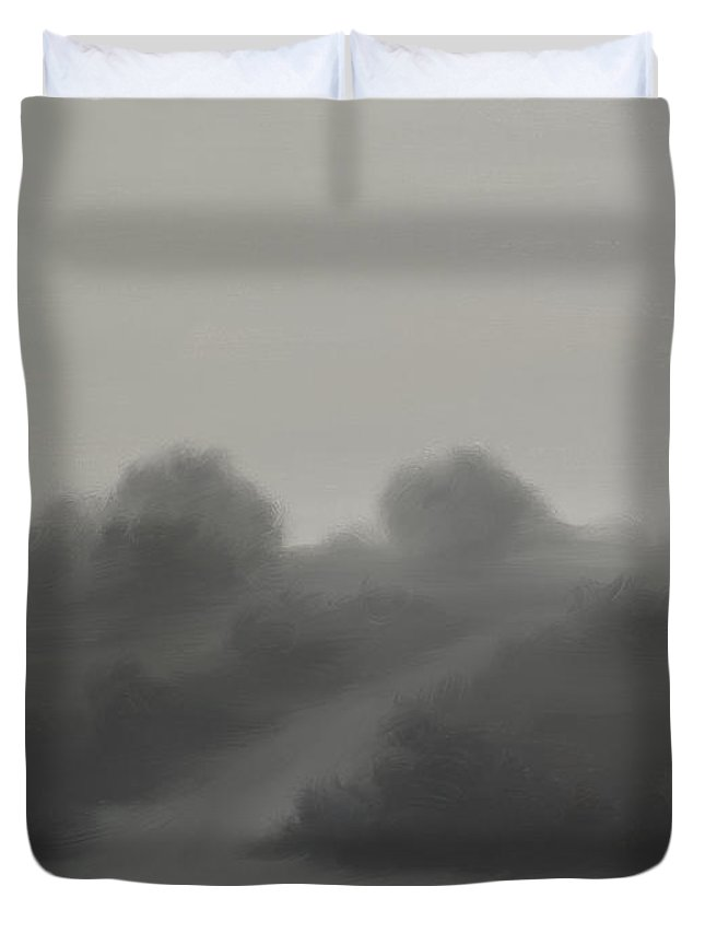 Landscape Duvet Cover featuring the painting The Crossroads by James Christopher Hill
