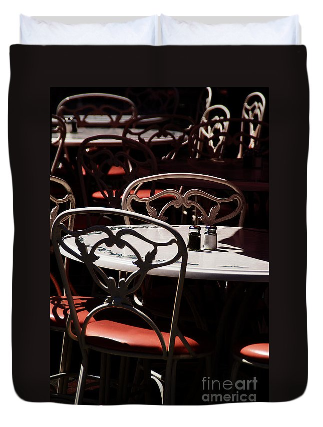 Chairs Duvet Cover featuring the photograph The Crucial Element by Linda Shafer