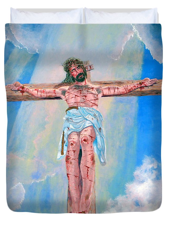 Christian Duvet Cover featuring the painting The Crucifixion Daytime by Stan Hamilton