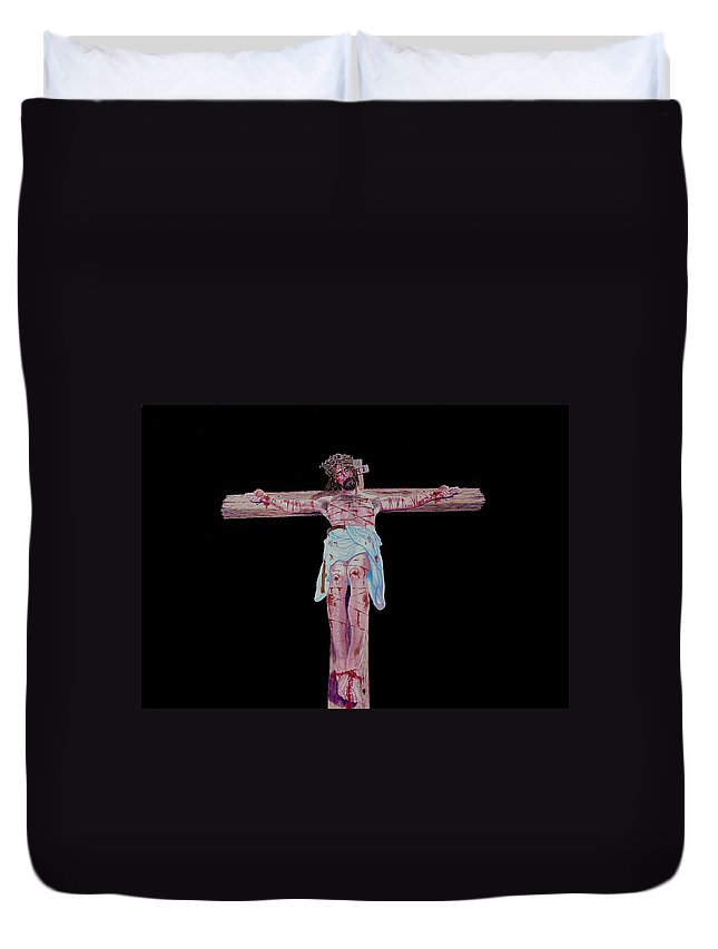 Crucifixion Duvet Cover featuring the painting The Crucifixion by Stan Hamilton