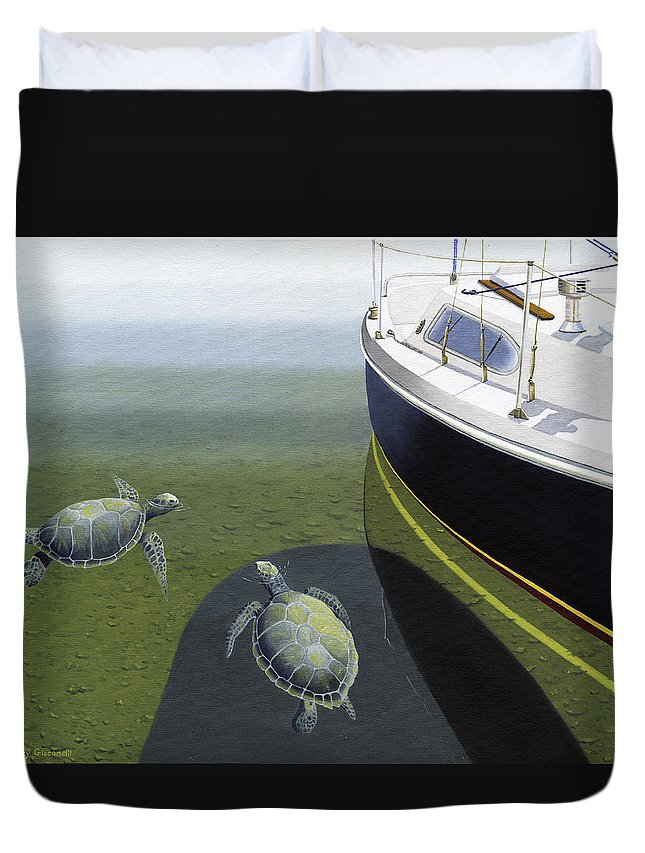 Sail Boat Duvet Cover featuring the painting The Curiosity Of Sea Turtles by Gary Giacomelli