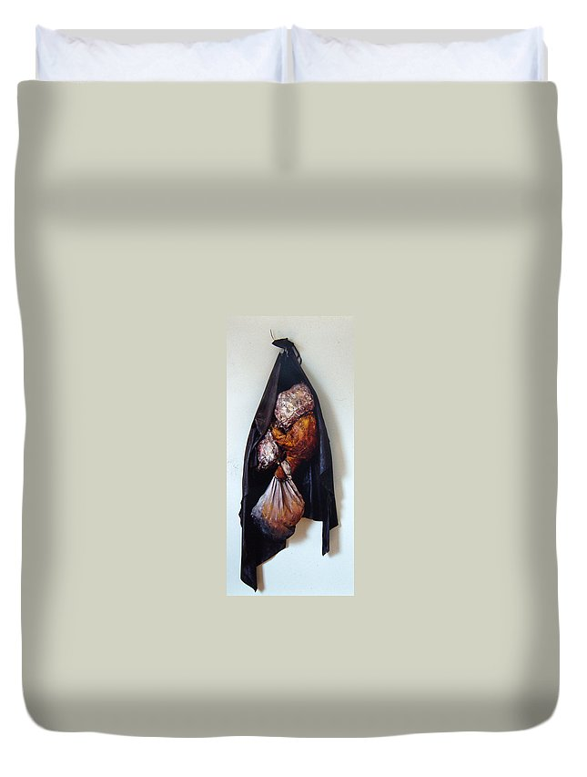 Acrylic Duvet Cover featuring the painting The Curtain by Nancy Mueller
