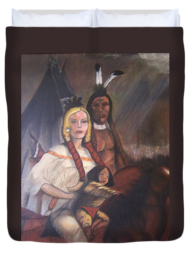 Artwork Duvet Cover featuring the painting The Cynthia Ann Parker Family by Laurie Kidd