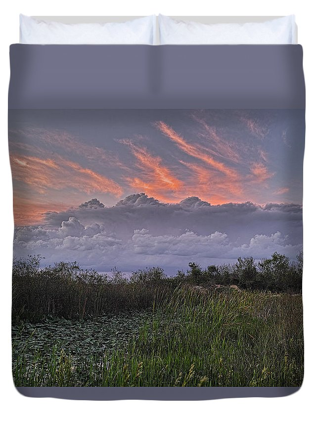 Clouds Duvet Cover featuring the photograph The Daily Disappearing Act by Roberto Aloi