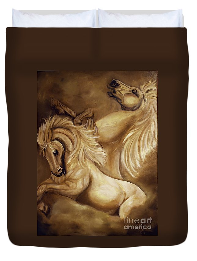 Horse Duvet Cover featuring the painting The Dance by Nancy Bradley