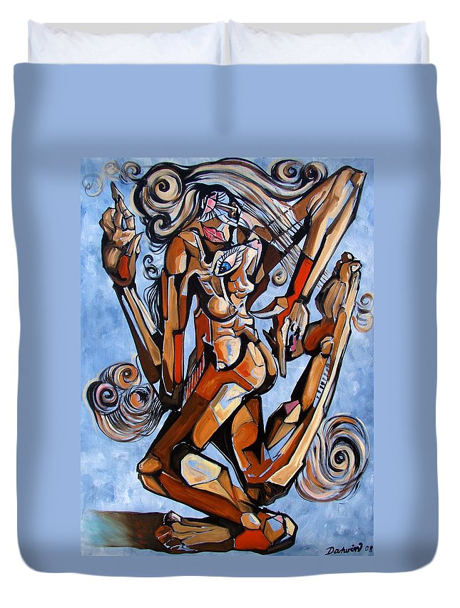 Surrealism Duvet Cover featuring the painting The Dance Of Ecstacy by Darwin Leon