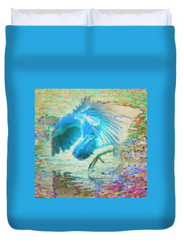 Heron Duvet Cover featuring the digital art The Dance Of The Blue Heron by Philip Lodwick Wilkinson