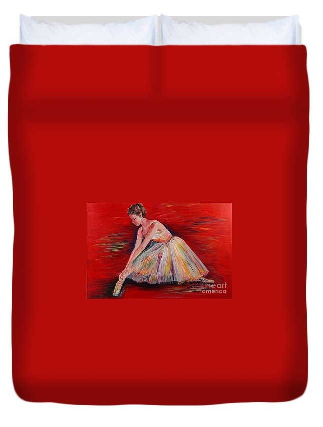 Dancer Duvet Cover featuring the painting The Dancer by Nadine Rippelmeyer
