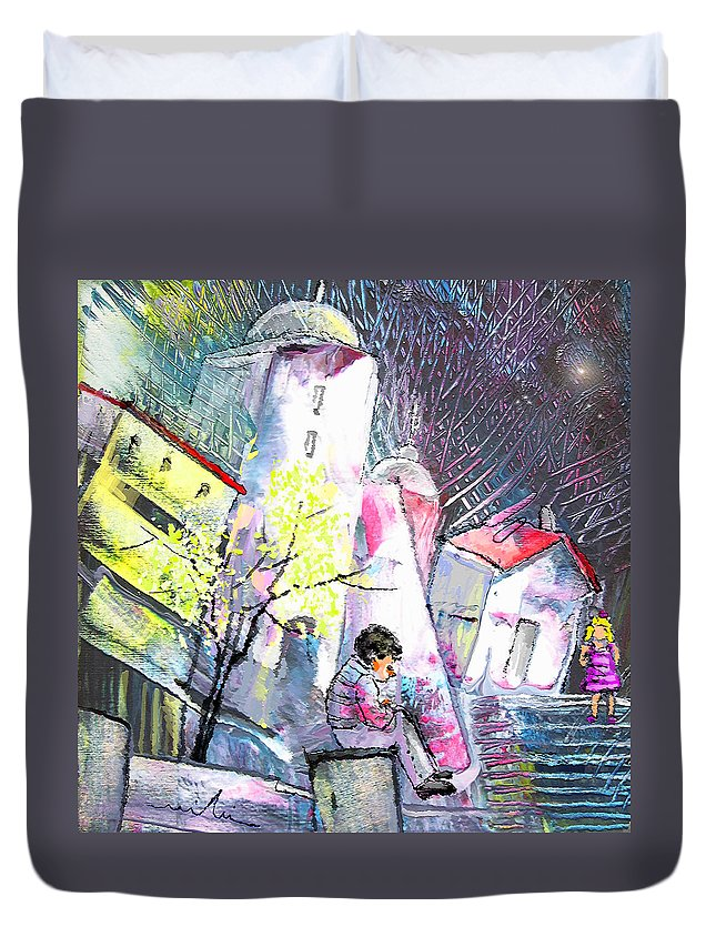 Fantasy Duvet Cover featuring the painting The Date by Miki De Goodaboom