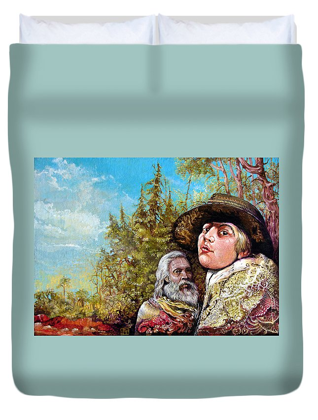 Surrealism Duvet Cover featuring the painting The Dauphin And Captain Nemo Discovering Bogomils Island by Otto Rapp