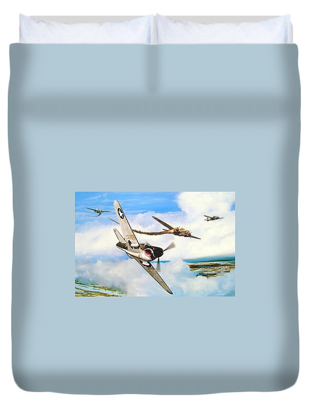 Military Duvet Cover featuring the painting The Day I Owned The Sky by Marc Stewart