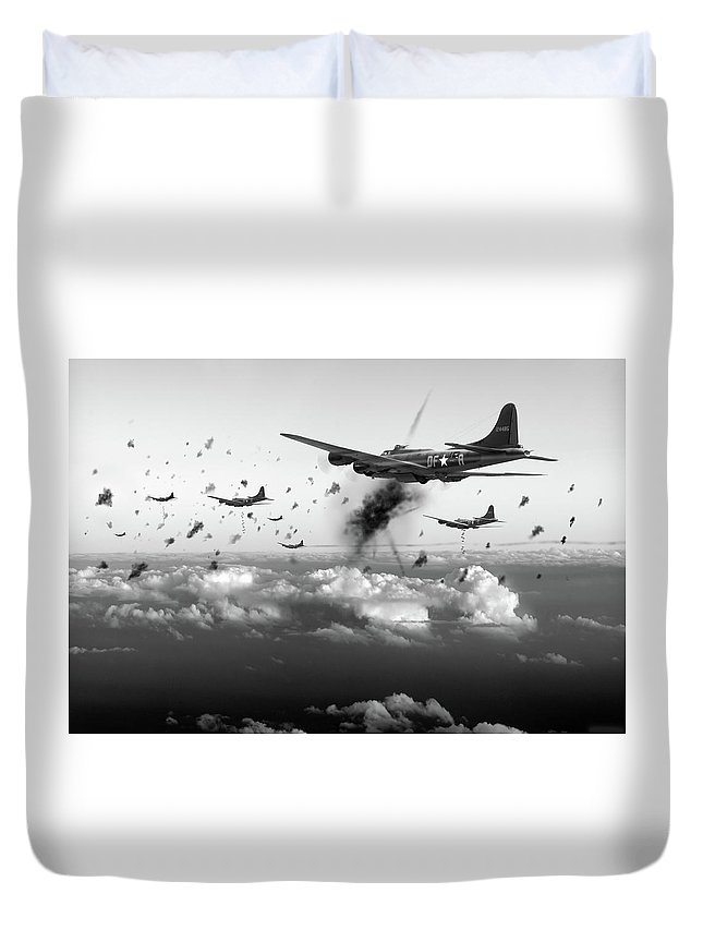 Flying Fortress Duvet Cover featuring the photograph The Day Job Black And White Version by Gary Eason