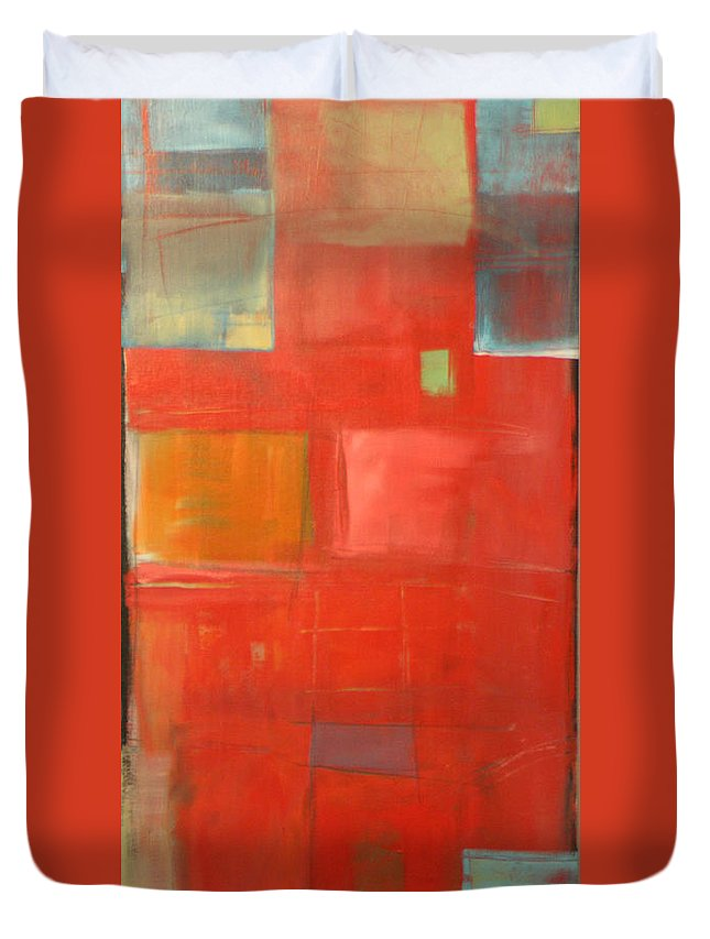 Red Duvet Cover featuring the painting The Day Tim Russert Died by Tim Nyberg