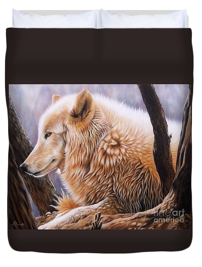 Acrylic Duvet Cover featuring the painting The Daystar by Sandi Baker