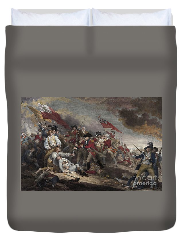 The Death Of General Warren At The Battle Of Bunker Hill Duvet Cover featuring the painting The Death Of General Warren At The Battle Of Bunker Hill, 17th June 1775 by John Trumbull