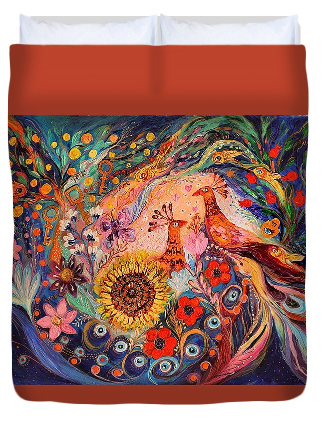 Modern Jewish Art Duvet Cover featuring the painting The Deep Blue Evening II by Elena Kotliarker