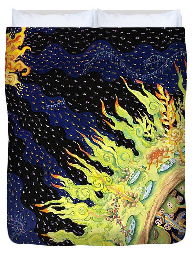 Earth Duvet Cover featuring the painting The Deep by Shoshanah Dubiner