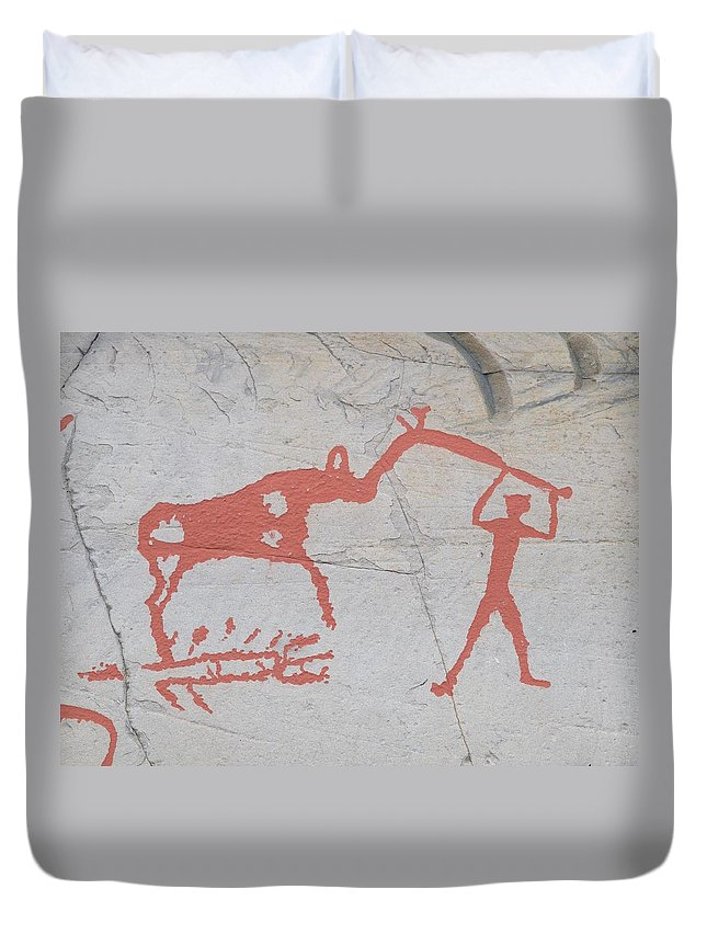 Alta Duvet Cover featuring the photograph The Deer And Female Hunter by Jouko Lehto